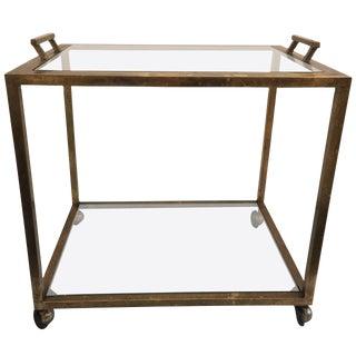 Tray-Top Brass Patina Rolling Bar Cart