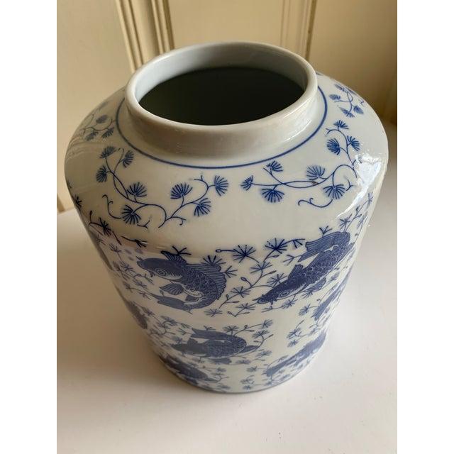 Blue & White Asian Koi Fish Ceramic Vase For Sale In Los Angeles - Image 6 of 9