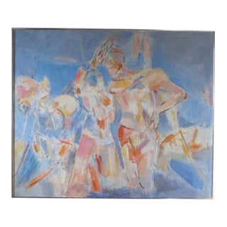 1980s Abstract Expressionist Inspired Figurative Painting For Sale