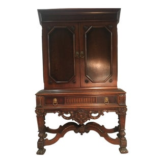 1920s Empire Rockford Furniture Mahogany Hutch With Burled Veneer Inlay For Sale