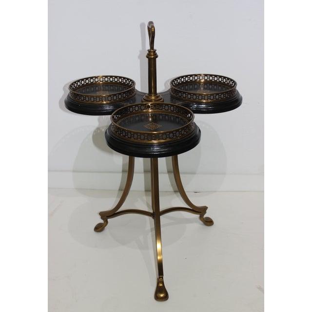 Metal Vintage Neoclassical Revival La Barge Trefoil Side Table Bronze & Leather For Sale - Image 7 of 12