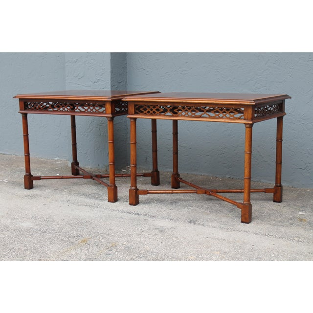 1970's Traditional Carved Wood Side Tables - A Pair - Image 5 of 11