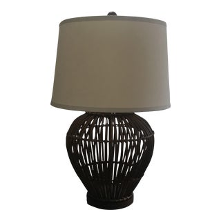 Ralph Lauren Large Rattan Lamp With Shade For Sale
