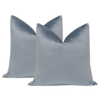 "22"" Italian Silk Velvet Pillows in Smokey Blue - a Pair For Sale"