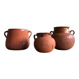 Antique Preserved Tarasco Native Clay Pots - Set of 3 For Sale