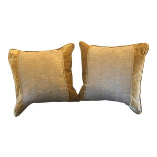 Gold Authentic Fortuny Pillows W Casa De Paris Trim - a Pair For Sale