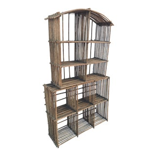 Bamboo Reed Display Shelf for Pottery For Sale