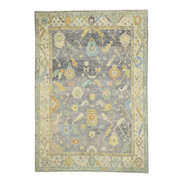 Contemporary Turkish Oushak Rug - 09'09 X 13'07 For Sale