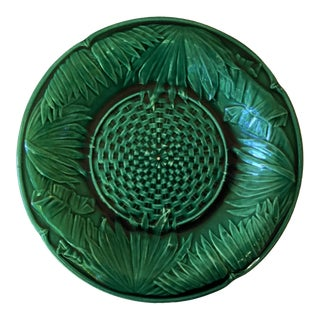 1880 Victorian Majolica Green Palm Leaves Plate For Sale