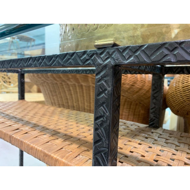 Steel and Rattan Console Table For Sale - Image 11 of 11