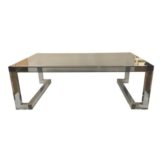 Interlude Home Modern Smoked Acrylic and Glass Oris Cocktail Table For Sale