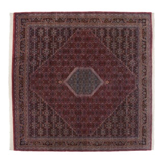 "Vintage Indian Bijar Design Square Carpet - 11'10"" X 11'10"" For Sale"