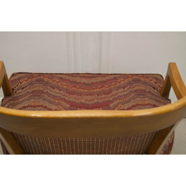 Wood Vintage Burgundy Flame Wood Low Profile Chairs with Cane Back - a Pair For Sale - Image 7 of 9