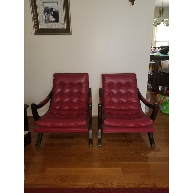 Vintage Mid-Century Modern Tufted Sling Chairs (A Pair) For Sale - Image 9 of 9