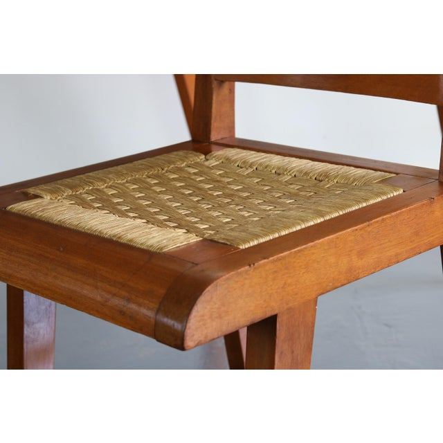 1950s Articulate Woven Mid Century Dining Set in Teak With Glass Top Table For Sale - Image 5 of 9