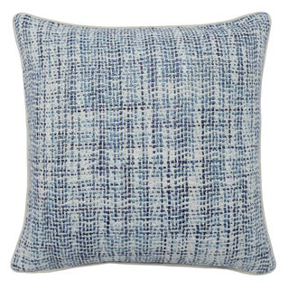 Contemporary Home Navy Blue Textured Square Pillow For Sale