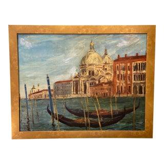 Vintage Venetian Scene Oil Painting, Framed For Sale