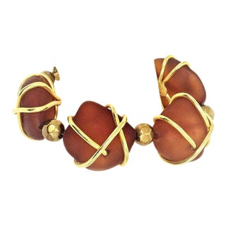 Francisca Flores Gold Tone & Molded Resin Bracelet For Sale