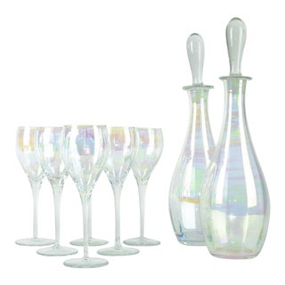 Murano Iridescent Crystal Decanter Set For Sale