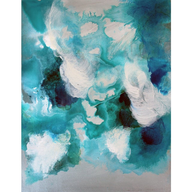 Bella Blue Expressive Modern Abstract Art Painting - Image 2 of 4