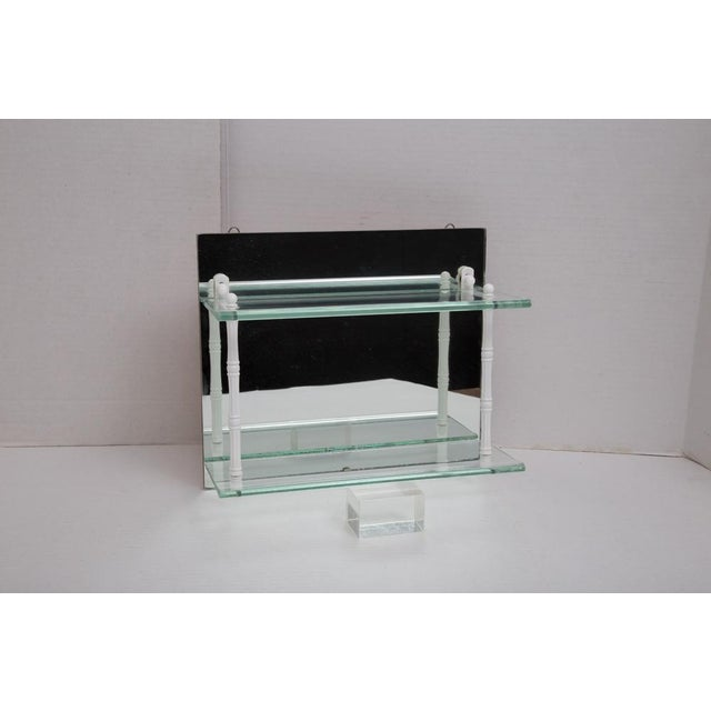 White Hanging Mirror and Glass Shelf or Curio Display For Sale - Image 8 of 10
