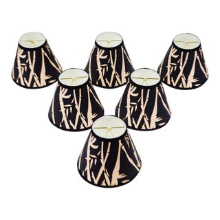 NOS Tapered Chandelier Lamp Shades Black and Tan Bamboo Design - Set of 6