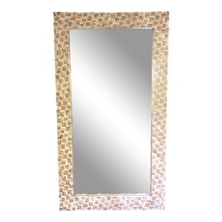 Large White Washed Carved Wood Mirror For Sale