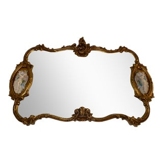 Giltwood & Porcelain Wall Mirror For Sale