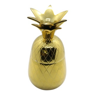 1960's Mid-Century Palm Springs High Gloss Brass Lidded Pineapple Vessel For Sale
