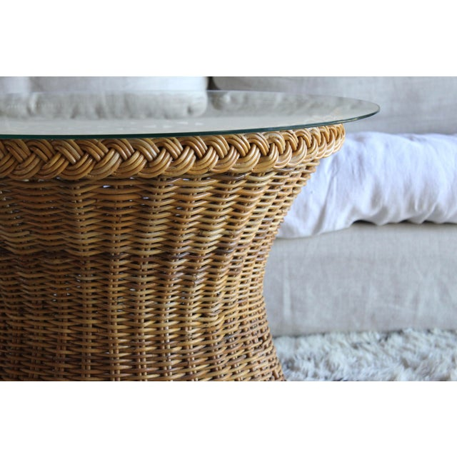 Boho Chic Vintage Mid Century the Wicker Works San Franisco Rattan Woven High End Tulip Side Table Albini Style For Sale - Image 3 of 7