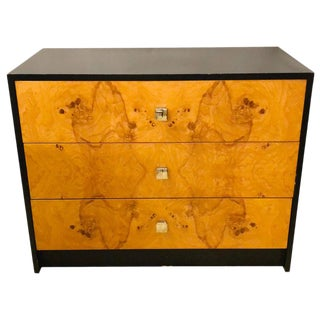 Mid-Century Modern Milo Baughman Style Ebony Burl Chest, Commode Nightstand For Sale