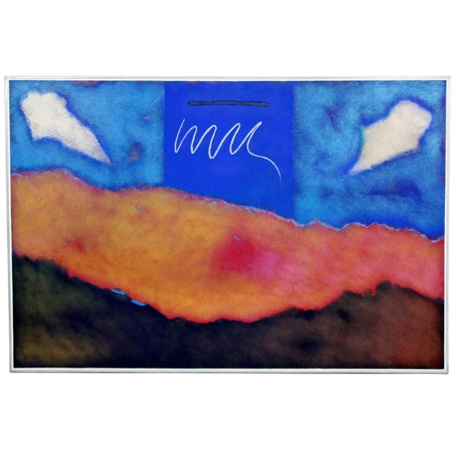 Mario Bencomo Large Original Acrylic on Canvas Meridian 1982 Signed Cuban Artist For Sale - Image 9 of 9