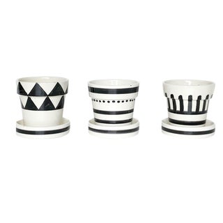 Graphic Ceramic Planter - Set of 3 For Sale