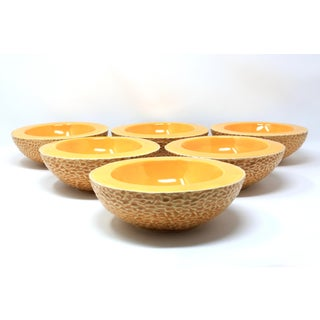 Vintage Ceramic Cantaloupe Bowls - Set of 6 Preview