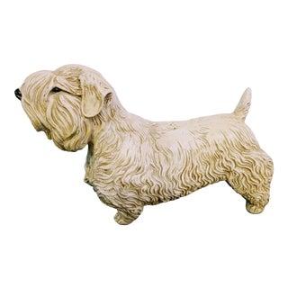 Vintage Ceramic Heavy Scottish Scottie Terrier Dog Statue Figurine For Sale