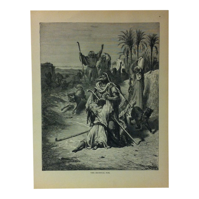 """Antique Gustave Dore' Illustrated Print on Paper """"The Prodigal Son"""" 1901 For Sale"""