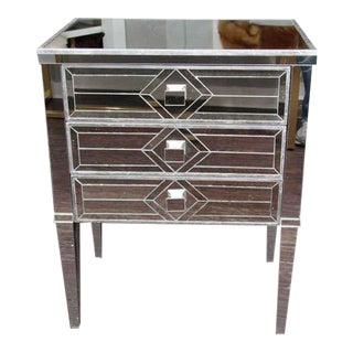 Pair of Three-Drawer Mirrored Commodes For Sale