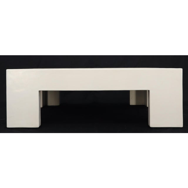 Robert Kuo Large Square White Enamel Lacquer Coffee Table For Sale - Image 9 of 13
