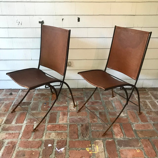 Contemporary Leather & Iron Folding Chairs - Set of 4 For Sale - Image 3 of 5