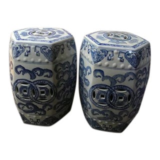 Chinoiserie Style Garden Stools - a Pair