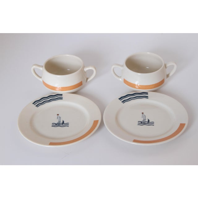Art Deco Pair Signed S.S. Leviathan Two-Piece Matched Serveware, Eugene Schoen and Lee Schoen by OPCO Syracuse China For Sale - Image 3 of 11