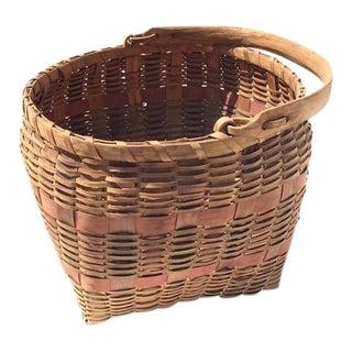 Antique Bentwood Splint Basket, Signed For Sale