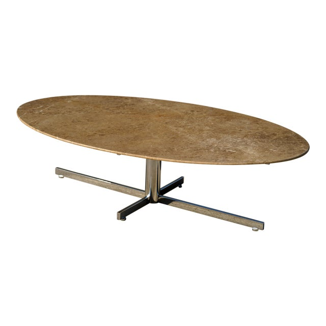 1960s Knoll Style Marble Elliptical Oval Coffee Table