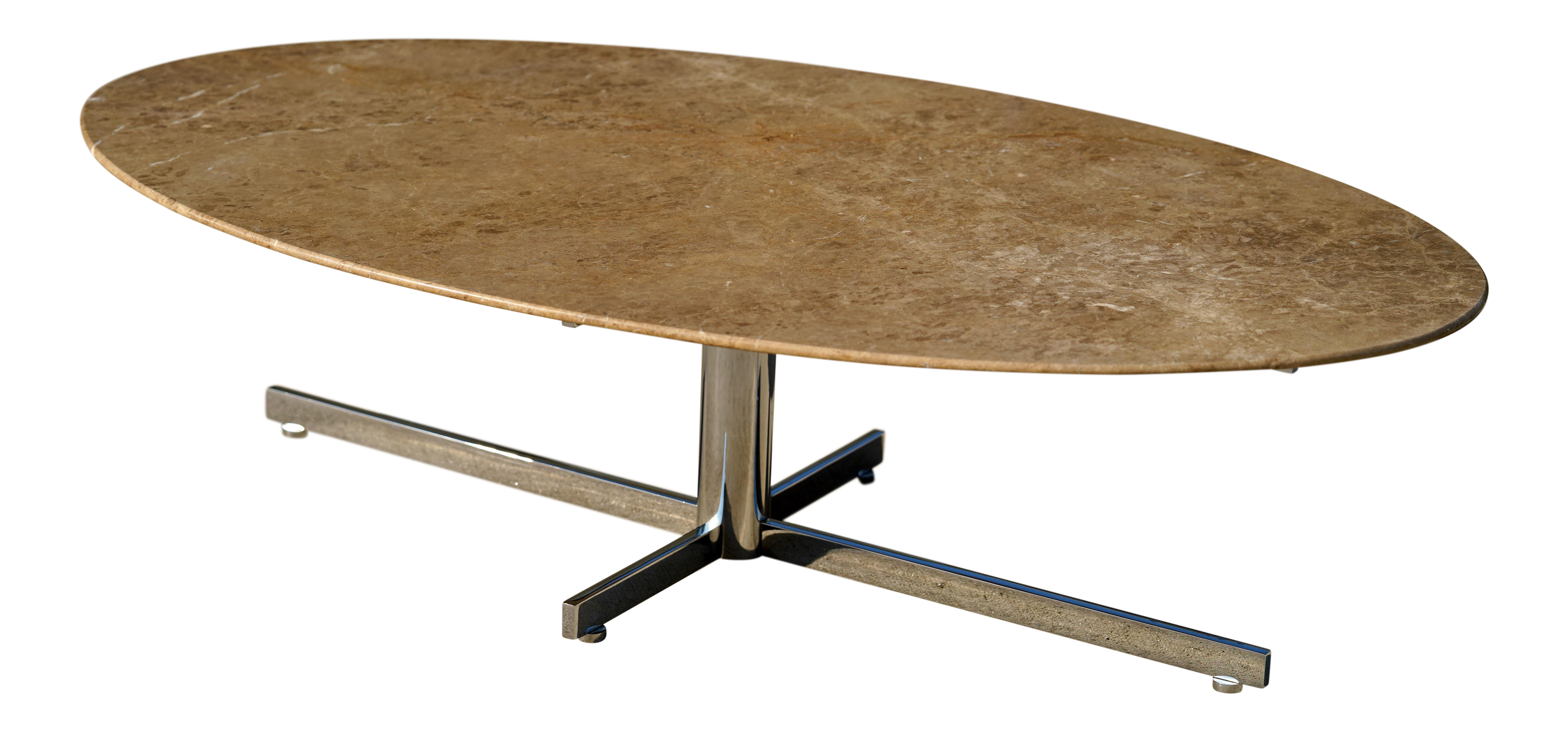1960s Knoll Style Marble Elliptical Oval Coffee Table For Sale