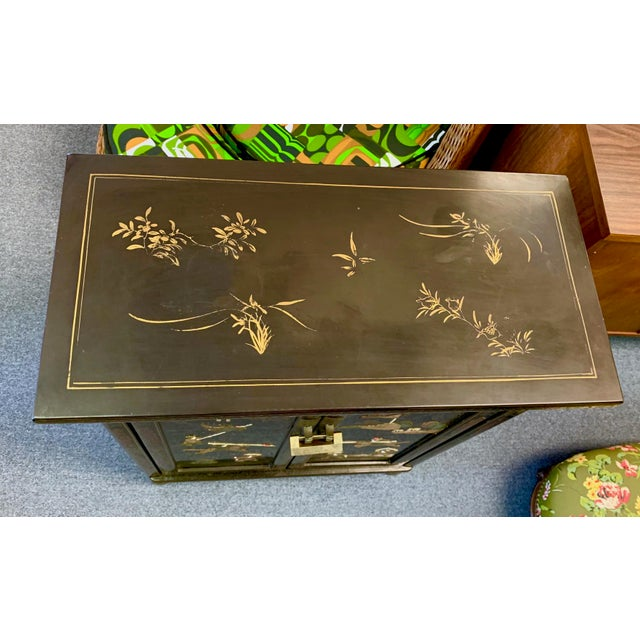 1950's Vintage Black Lacquer Chinoiserie Armoire For Sale - Image 10 of 12