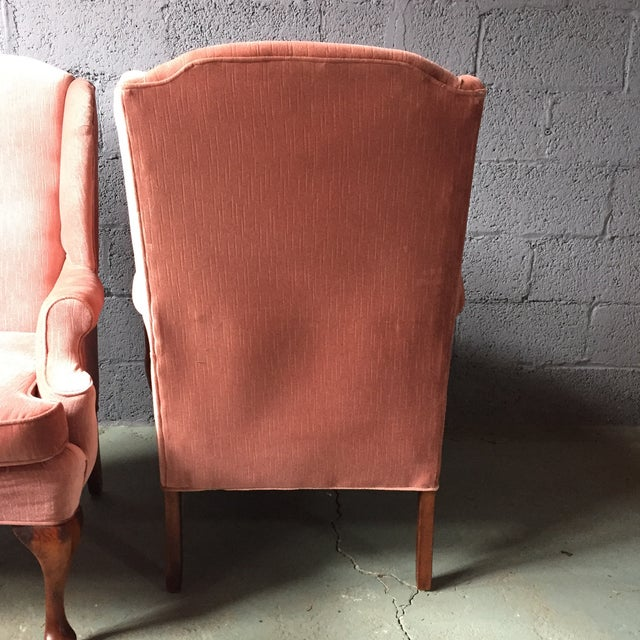 Pink Pink Wingback Armchairs - A Pair For Sale - Image 8 of 11
