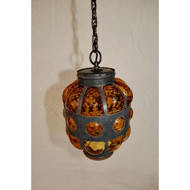 Spanish 1950s Elegant Lantern Light With Amber Hand Blown Glass For Sale - Image 3 of 5