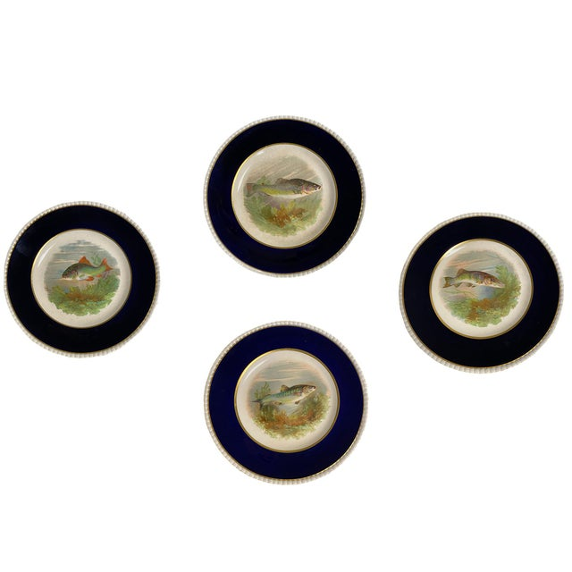 Ceramic 1940s Black and White English Fish Plates - Set of Four For Sale - Image 7 of 7
