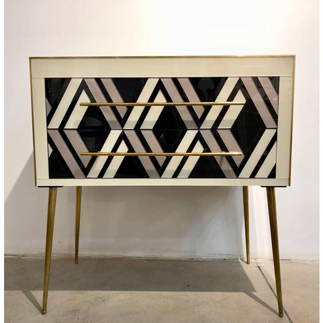 Modern 1990 Italian Graphic Pair of Geometric Black White Rose Gray Chests/ Side Tables For Sale - Image 3 of 9