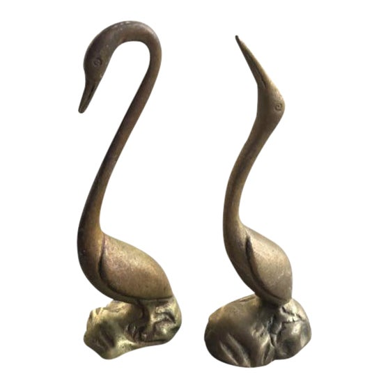 Vintage Brass Shore Bird Figurines - A Pair - Image 1 of 6